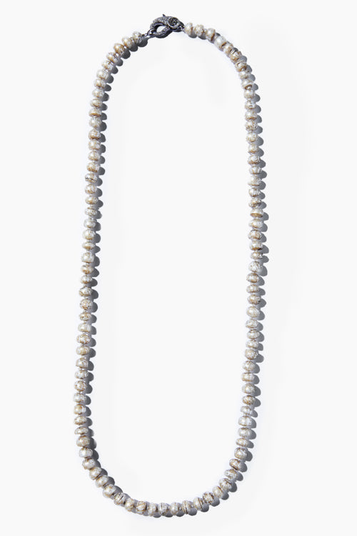 Etched Pearl Knotted Necklace - Studio C