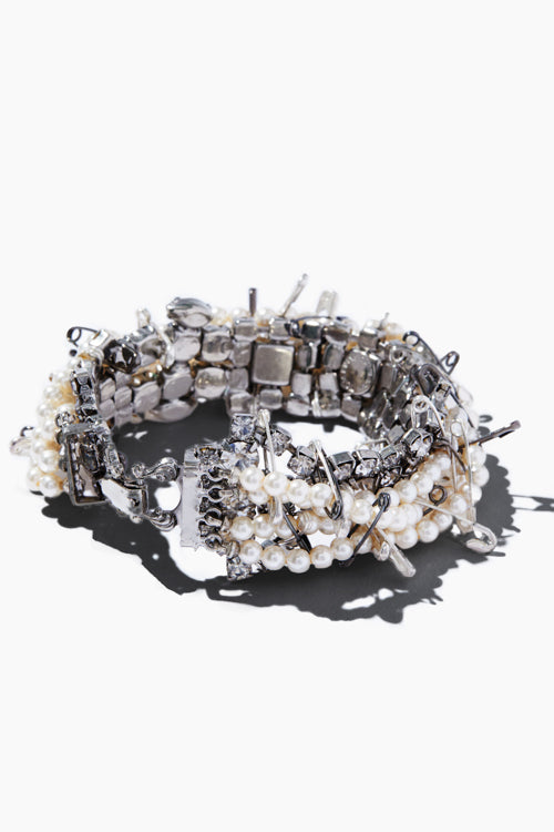 Multi Strand Pearl & Safety Pin Bracelet - Studio C