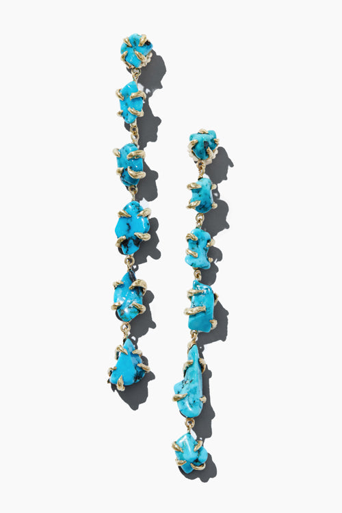 Turquoise Nugget 6 Drop Earrings - Studio C