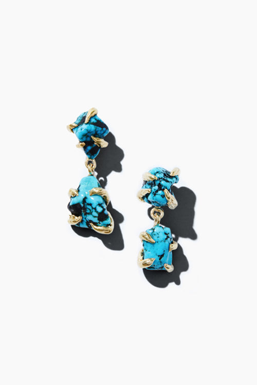Turquoise Nugget 2 Drop Earrings - Studio C
