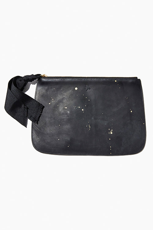 Black Zip Clutch With Gold Accent - Studio C