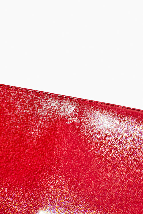 Red Leather Zip Clutch - Studio C