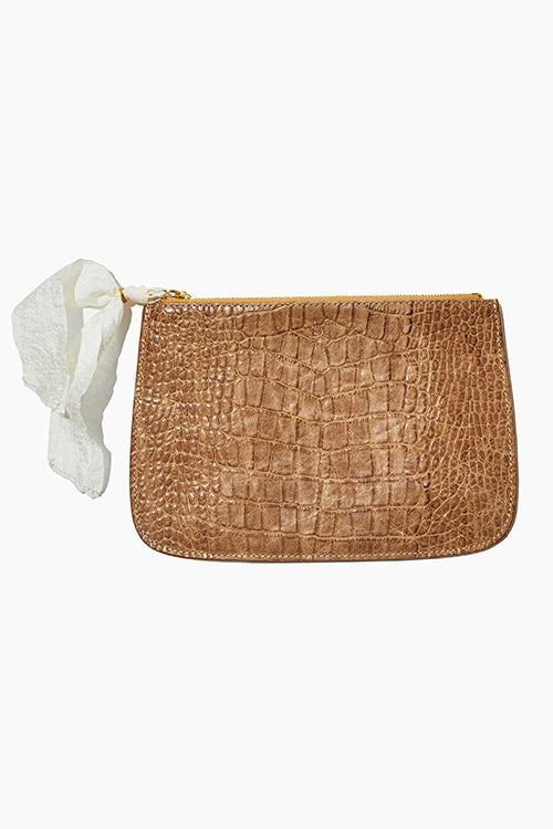 Faux Croc Embossed Zip Clutch - Studio C