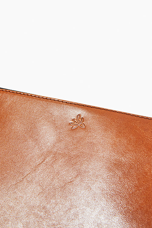 Brown Hand-Burnished Zip Clutch - Studio C