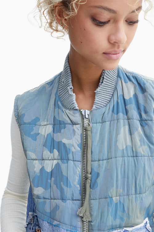 50/50 Army Camo/Vintage Denim Quilted Flight Vest - Studio C