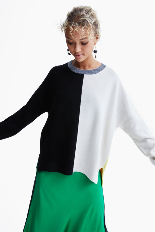 Charlize Color Block Wool Sweater - Studio C
