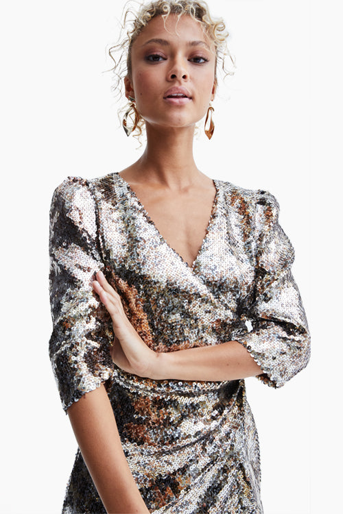 Metallic Sequin Dress - Studio C