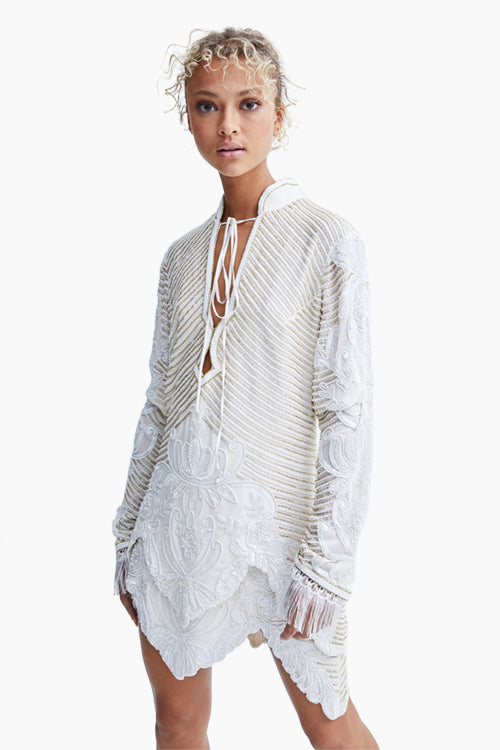 Hand Beaded L/S Silk Blouse - Studio C