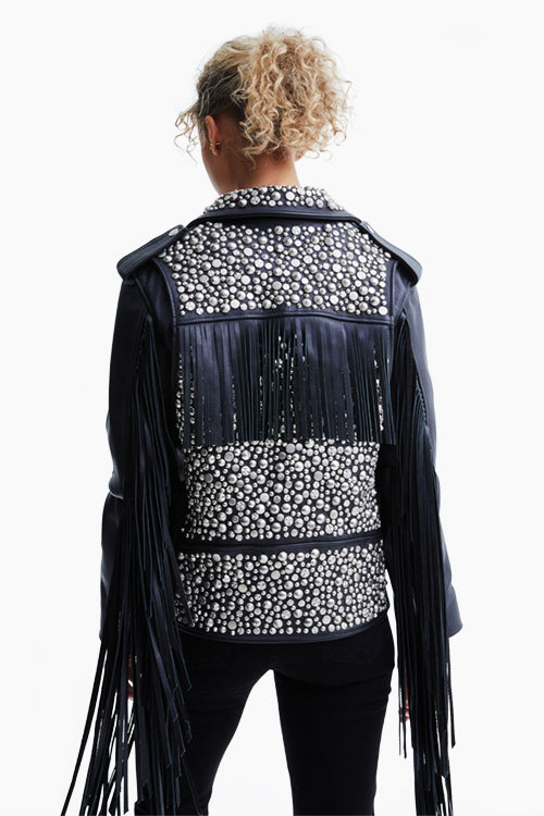 Black Studded Leather Motorcycle Jacket w/ Fringe Details - Studio C
