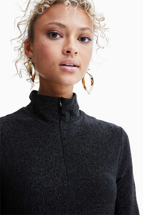 Long Sleeve Zip Up Turtleneck Dress - Studio C