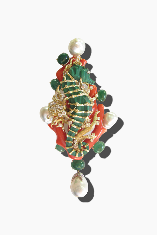 Tony Duquette Sea Horse Brooch