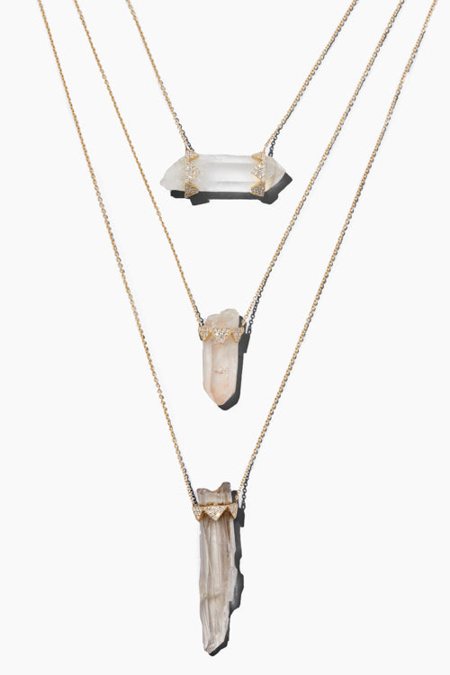 Three Drop Clear Quartz/ Rose Quartz/ Smokey Quartz Crown Necklace - Studio C