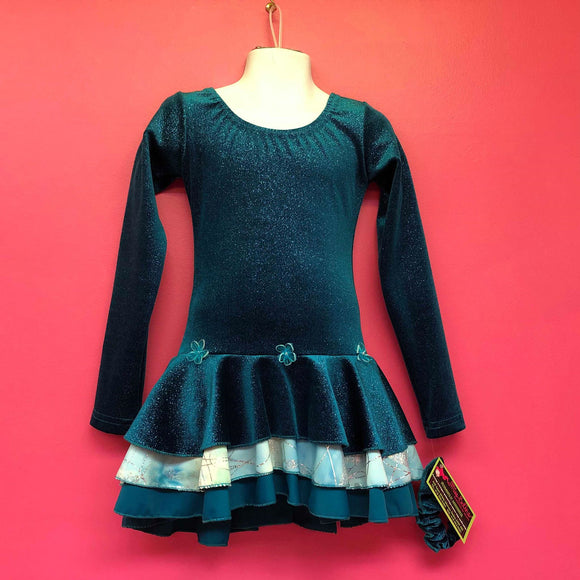 P06003 - Robe de patinage artistique en velour sarcelle scintillant (6 ans)