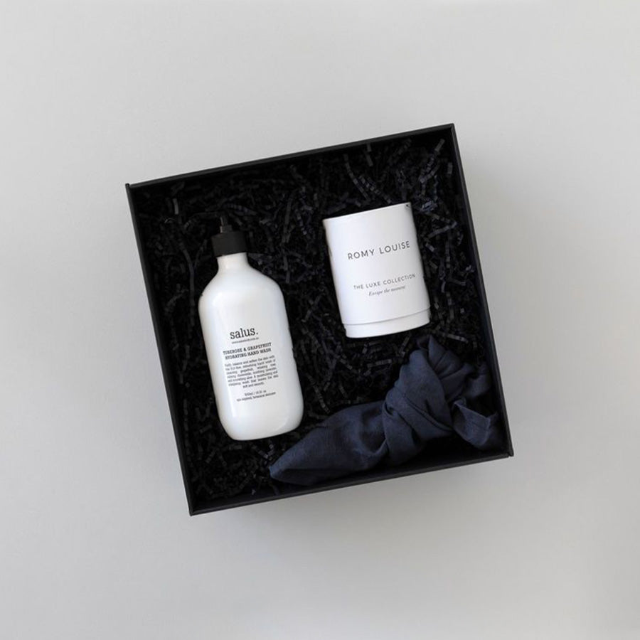 Gift box with handwash, scented candle and linen tea towel