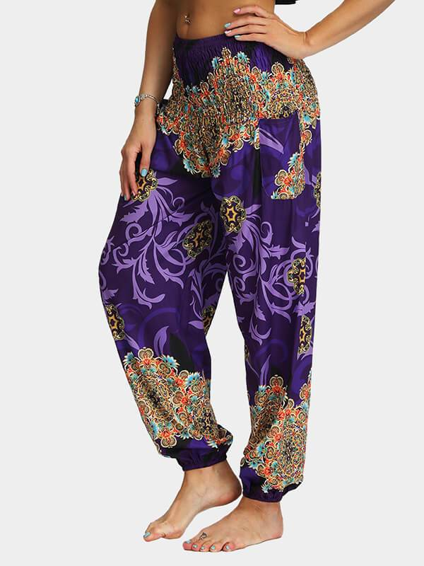 Flower Printed Loose Yoga Pants