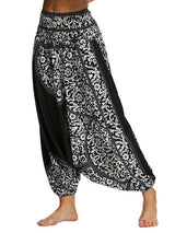 Women's Black Printed Loose Yoga Pants