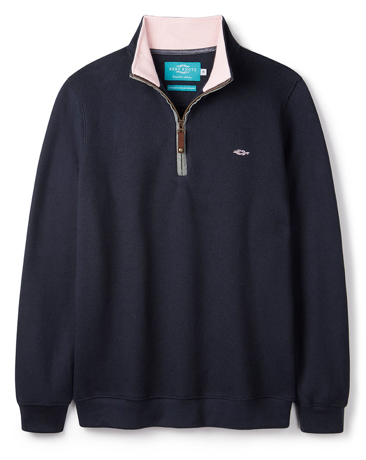 Navy Blue Quarter Zip (pink contrast)