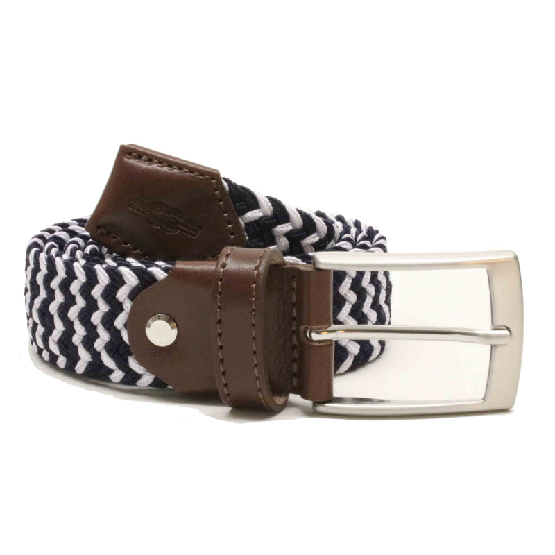 Navy & White Woven Elasticated Belt