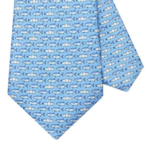 BLUE Ocean Plastics Light Blue Silk Tie