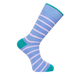 Light Blue & Pink Stripe Socks - Lightweight