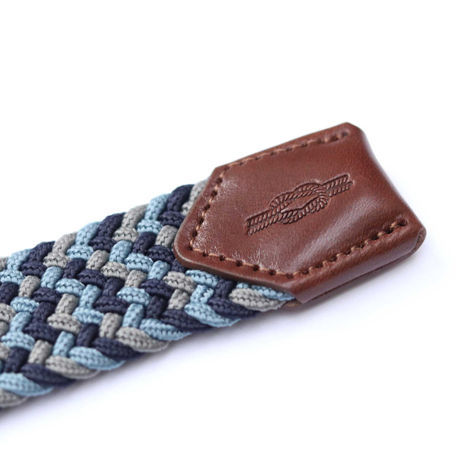 Blue, Grey & Navy Woven Elasticated Belt