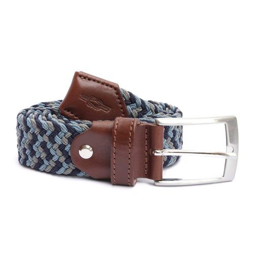 Blue & Grey Woven Elasticated Belt