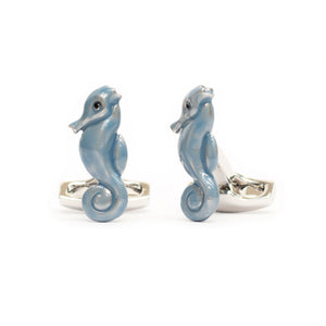 Blue Enamel Sea Horse Cufflinks