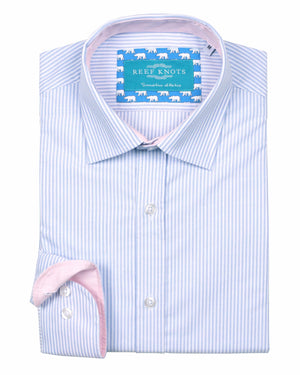 Blue Stripe Oxford Shirt - Traditional Collar