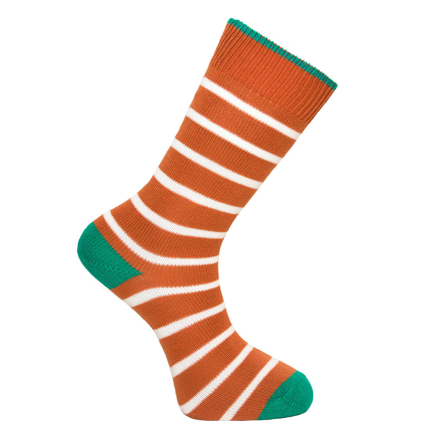 Burnt Orange Stripe Socks - Lightweight