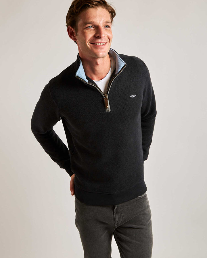Charcoal Quarter Zip (Light Blue Contrast)