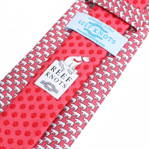 Men's Polar Bear Coral Red Silk Tie