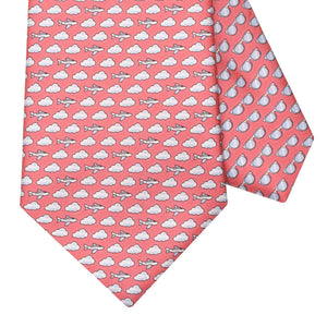 Men's Aeroplane Coral Red Silk Tie