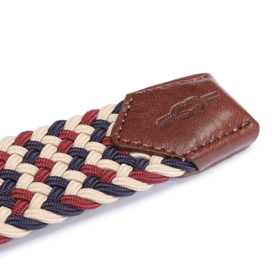 Cream, Burgundy & Navy Woven Elasticated Belt