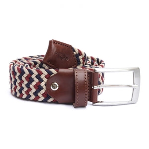 Navy, Cream & Burgundy Woven Elasticated Belt