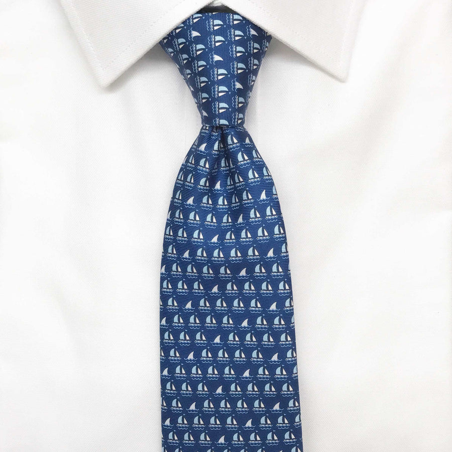 dark blue boats and sharks printed silk tie