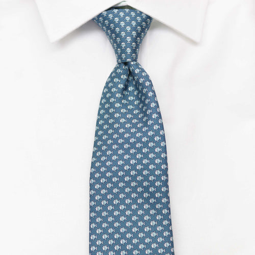 Men's Micro Fish Dark Blue Silk Tie