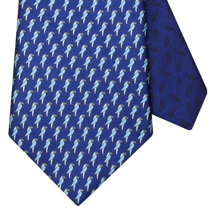 Men's Parrots Blue Silk Tie