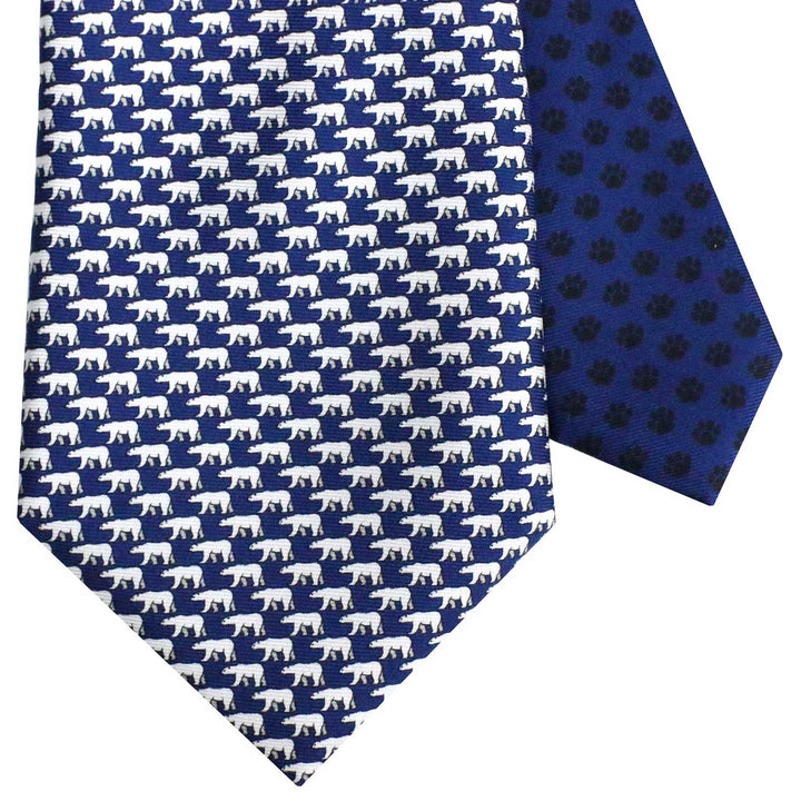 Men's Polar Bear Navy Blue Silk Tie