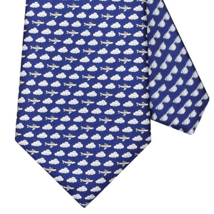 Men's Aeroplane Navy Blue Silk Tie