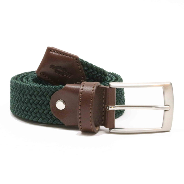 Dark Green Woven Elasticated Belt