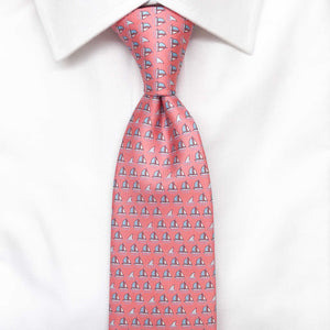 dark pink boats and sharks printed silk tie