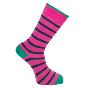 Dark Pink and Navy Stripe Socks - Lightweight
