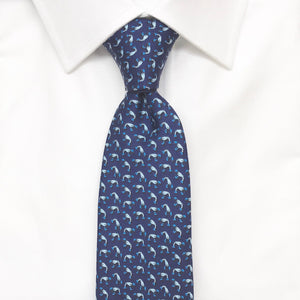 blue lobster printed silk tie