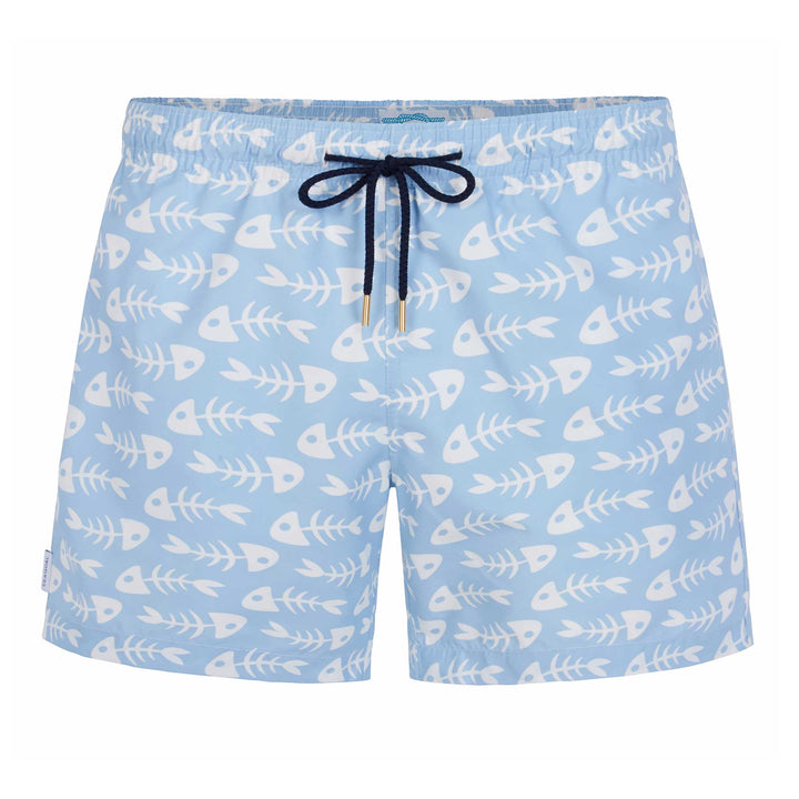 Blue Fish Bones Classic Swim Shorts