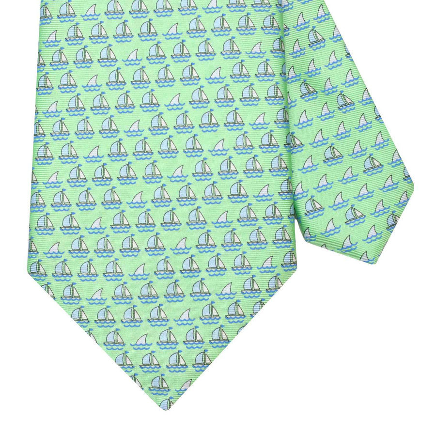Men's Green Boats and Sharks Silk Tie