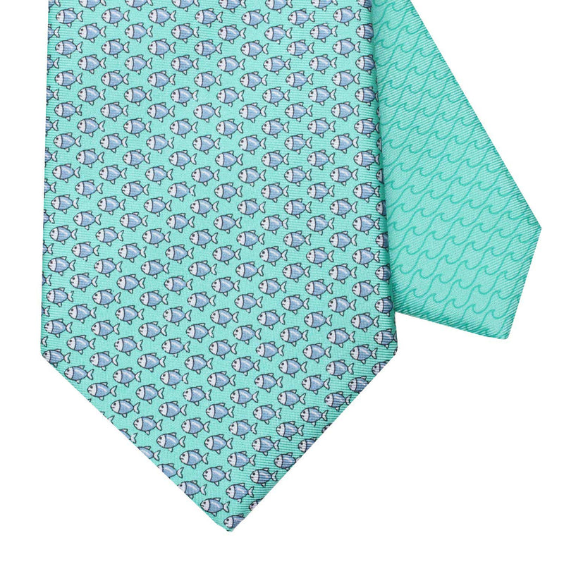 Men's Micro Fish Green Silk Tie