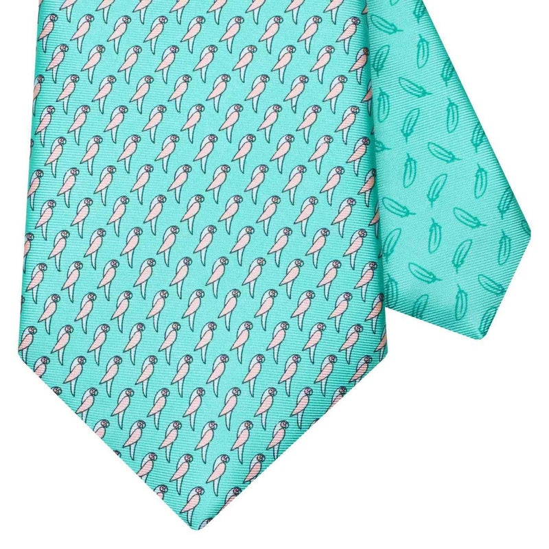 Men's Parrots Green Silk Tie
