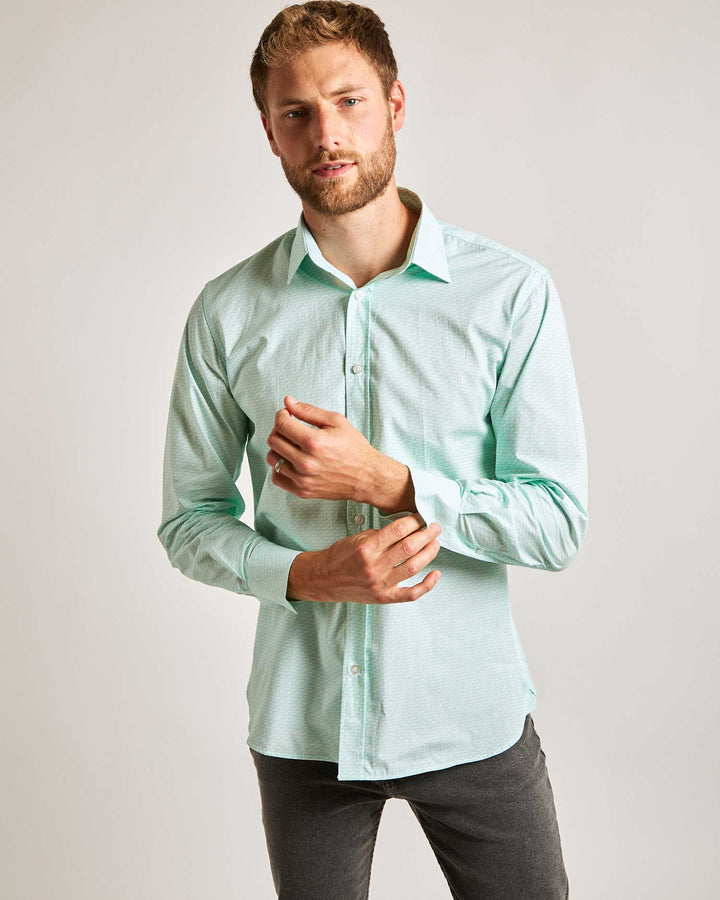 Fish Bones Print Shirt - Green