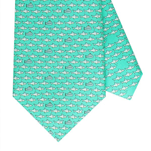 Men's Shark and Submarine Green Silk Tie