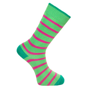 Green and Pink Stripe Socks - Lightweight